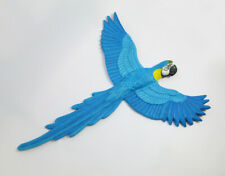 Paper Mache Blue Gold Macaws Bird Animal Handmade Wall Art Sculpt Home Décor