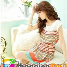 Chiffon Stripes Hand-wash Only Casual Dresses for Women