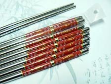 1 par Palillos De Metal De Acero Inoxidable con Patrón De Peces De Oro Rojo-Nuevo + UK Post