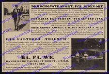 Reklame Bayrische Faltboot-Werft BaFaWe München Theresienstraße Wassersport 1922