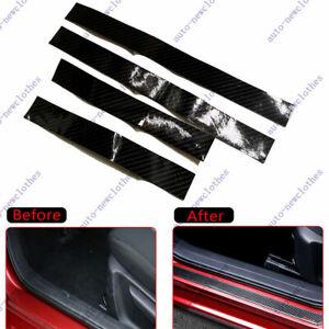 4x Accessories Carbon Fiber Car Scuff Plate Door Sill 5D Sticker Protector Auto
