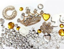 Bling Cell Phone Case Deco Kit: Golden Crowns with Matching Pearls and Cabochons