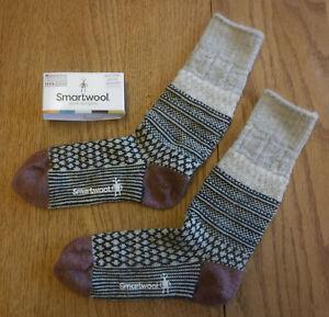 NWT SMARTWOOL Merino Wool Popcorn Cable Medium Cushion Womens Crew Socks-M $25