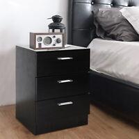 Modern Retro3 Drawers Bedside Table Nightstand Cabinet Bedroom StorageHome Black