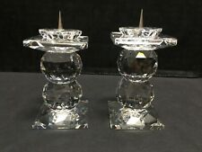 Swarovski Crystal Pair of Pin Candle Holders Double Ball
