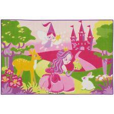 Teppich Kinderteppich Prinzessin Fee Tiere Spielteppich 80x120 cm pink grün