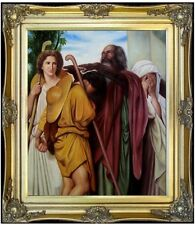 Framed Bouguereau Tobias Say Good-Bye to his Father Repro, Oil Painting 20x24in