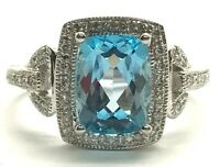 Sterling Silver 925 Swiss Blue Topaz - Diamond Halo Lock Link Band Cocktail Ring
