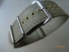 Canvas Strap Leinen Uhrband 22 mm olive hell Edelstahl Dornschließe Nato Zulu