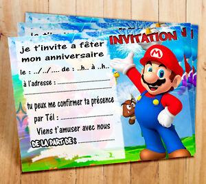 Cartes invitation anniversaire Super Mario par  5 - 12 ou 16