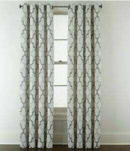 (1) JCPenney Casey Jacquard PEWTER CHARCOAL GRAY 7313191 Grommet Curtain 50 X 84