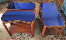 Art Deco Cobalt Blue Glass Mirror Wood Coffee & End Tables Remarkable Condition!