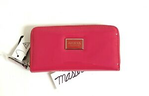 Guess Abree Zip Around Logo Check Organizer/Phone Wallet Popping Pink O6026599