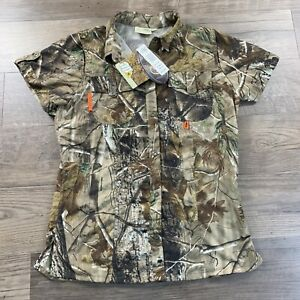 NWT Women's SHE Outdoor Apparel Safari Hunter Camo Button Vented Shirt Realtree
