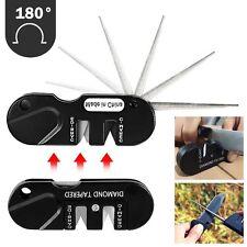 Pocket EDC Kitchen Knife Sharpener 2 Stages Diamond Hone Grindstone Outdoor Tool