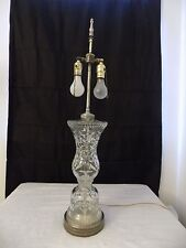 Vintage hand cut  heavy crystal table lamp  double lights metal base
