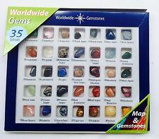 Gemstones Tumblestones Worldwide Mixed Crystals 35 Stones Samples and Map