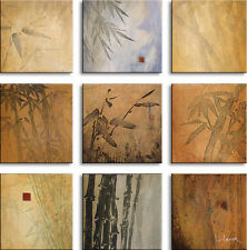 "9 PIECES 12""x12"" each BAMBOO NINE PATCH by DON LI-LEGER CANVAS"