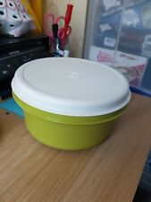 "LARGE VINTAGE GREEN AND WHITE TUPPERWARE STORAGE BOWL 9.5"" X 4.5"""