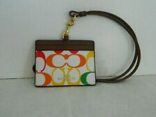 NWT COACH RAINBOW CHALK MULTI SIGNATURE E/W LANYARD ID CASE 3353