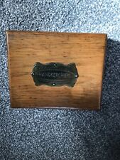 More details for rare vintage wooden box for handkerchiefs- brass inlay on lid