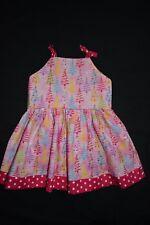 Pink Christmas Tree christmas dress, size 2 - handmade