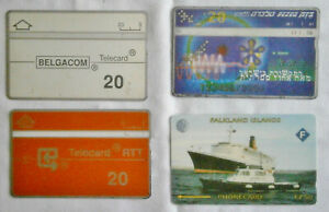 FOUR rare foreign phonecards from the 2000's: Belgium, Israel, Falkland Islands