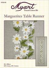 MYART Traced Linen MARGUERITES Runner by Spotlight