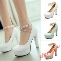 Women High Block Heel Ankle Strappy Platfrom Mary Jane Shoes Buckle Fashion Shoe