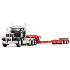 1:50 First Gear *BLACK & RED* PETERBILT 367 Semi Truck w/Tri-Axle LOWBOY NIB