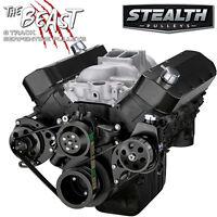 Black Big Block Chevy Serpentine Pulley Conversion Kit - Power Steering, BBC 454
