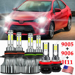 Para For Toyota Corolla 2009-2014 2015 2016 6X Faros LED + Bombillas antiniebla