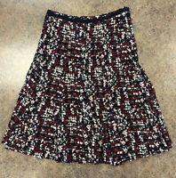 Christopher & Banks women Red black abstract side zip flow knee length skirt 6P