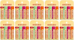 Lot of 10 4-Packs of Burt's Bees Beeswax Lip Balm w Pepp, Cucumber, Water, Sweet