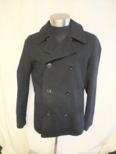 "Mens Pea Coat Peter Werth size L, black wool mix, chest 44"", length 28"", 7035"