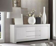 Base madia credenza moderna Amalfi 2 ante 3 cassetti bianco laccato lucido sala