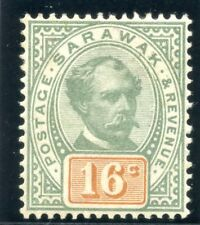 Sarawak 1897 QV 16c green & orange MLH. SG 17. Sc 17.