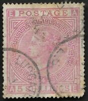 1882 QV SG134 5s Rose J123a AE Used CV £4,200 Scarce