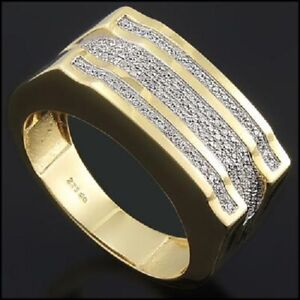 Men's 14K Yellow Gold Over Solid Sterling Silver 1/2 CTW Diamonds