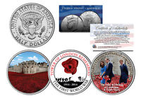 TOWER OF LONDON REMEMBRANCE WW1 Colorized JFK Half Dollar US 3-Coin Set POPPIES
