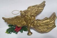 Vintage Christmas Ornament ANGEL BLOWMOLD Gold Plastic