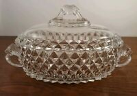 EAPG AMAZON by Bryce Brothers CRYSTAL Oval Bowl With Lid Lion Finial And Handle