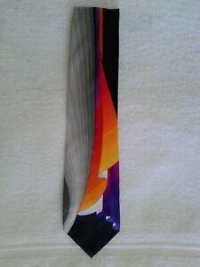 VITALIANO PANCALDI Men's 100% Silk Necktie ITALY Luxury Geometric Waves Gray #2