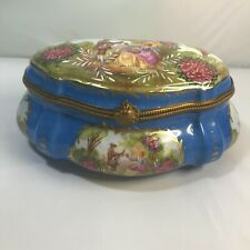 Antique Sevres Porcelain Jewelry Box with Couple signed France