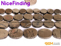 """Natural Oval Flat Silver Gray Pyrite Stone Beads For Jewelry Making Strand 15"""""""