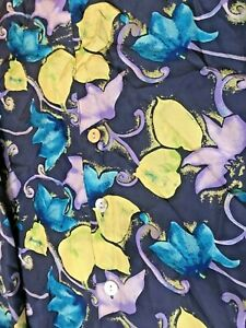vintage 90's black lilac floral abstract print silk oversized tunic top blouse