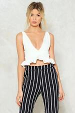 84a864e866b42 Nasty Gal Deep Down Plunging Crop Top White Size UK 8 Dh092 EE 10