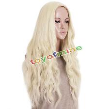 Long Light Blonde Curly Heat Resistant Wavy Cosplay Women's Hair Full Wig Wigs P