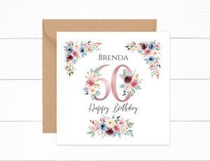 Personalised 60th Birthday Card Pink Floral Nan Auntie Mum Grandma Friend