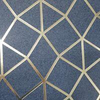 Geometric trellis triangles lines wallpaper navy blue gold metallic Textured 3D